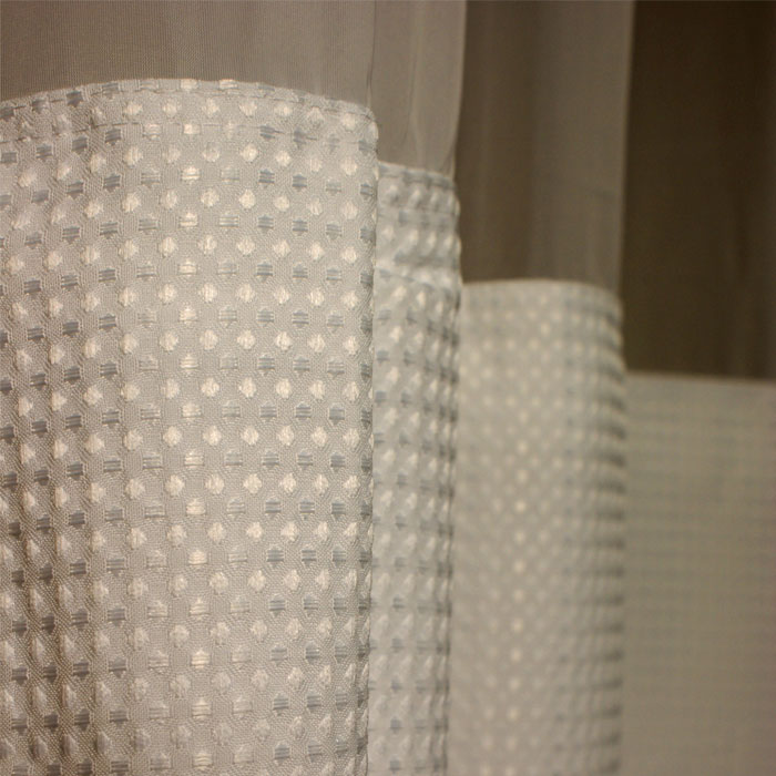 Kartri Empire Waffle Ezy-Hang Polyester Shower Curtain w/ Voile ...