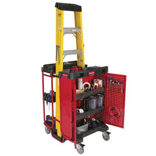 Rubbermaid Commercial 9t58bla Ladder Cart W Cabinet Black Red