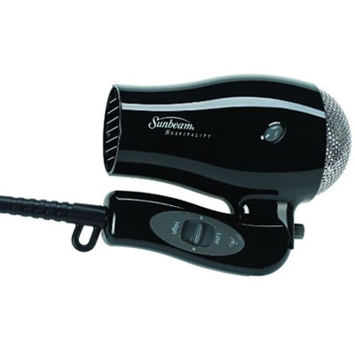 Sunbeam Hd3005 005 1875 Watts Compact Folding Hand Held Hair Dryer Cool Shot Dual Voltage Black 6 Per Case Price Each