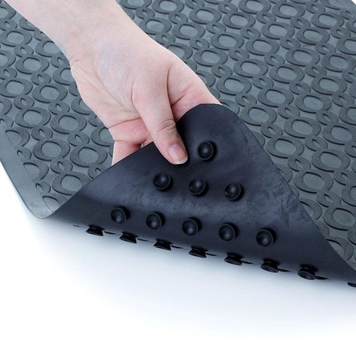 Slip-X Large Safety Rubber Bath Mat w/ Microban 15x27 Black 6 Per ...