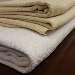 AHS Collection Herringbone Bedspread Blankets 2.5 Lbs 100% Cotton 66x90 White or Beige 12 Per Case Price Per Each