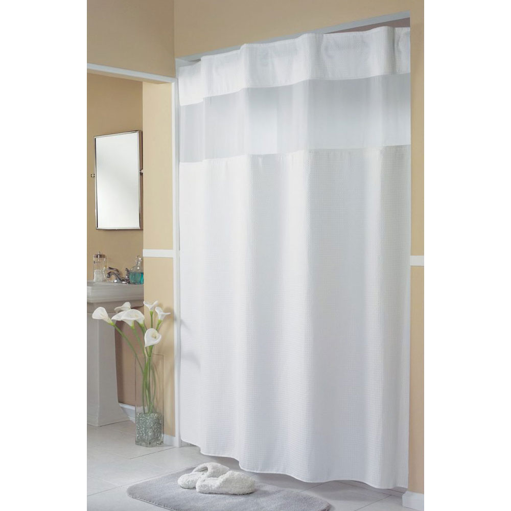 HooklessR Mini Waffle Polyester Shower Curtain W Its A SnapTM Replaceable Liner 71x77 White 12 Per Case Price Each
