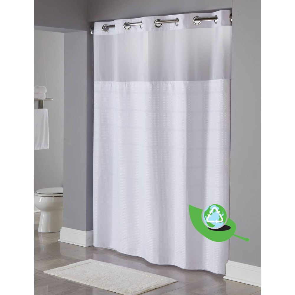 Gentil Hookless® Alexandria One Planet™ RePET Shower Curtain W/ Itu0027s A Snap!™  Replaceable Liner 71x77 White 12 Per Case Price Per Each