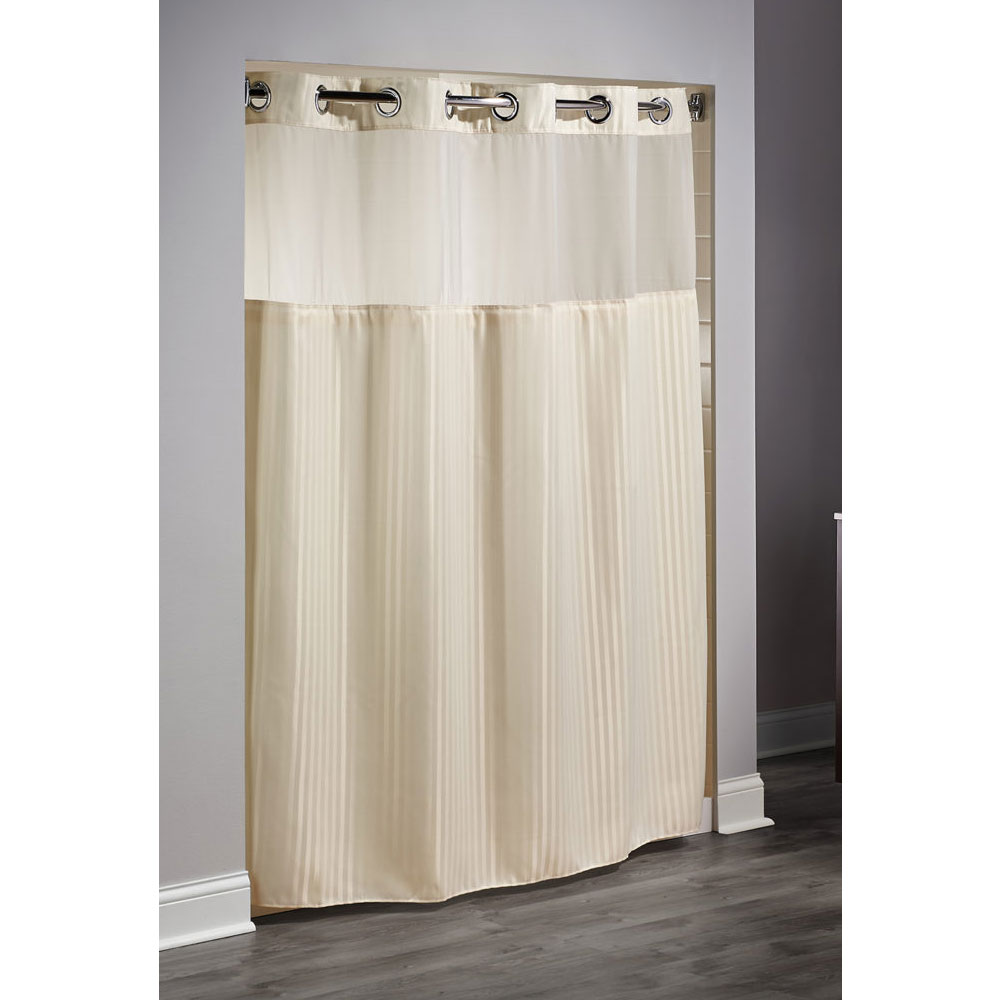 Hookless Double H Polyester Shower Curtain w It's A Snap