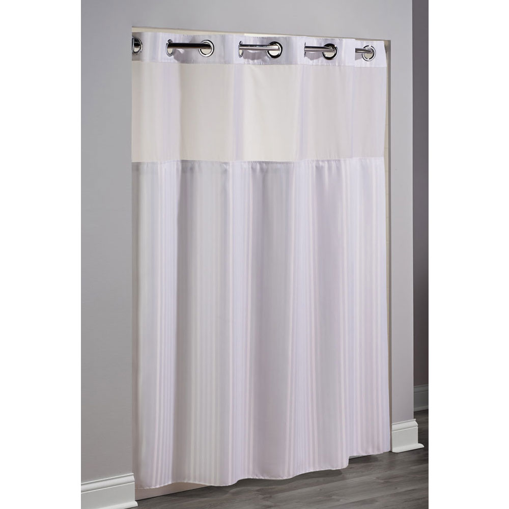 Home Arcs Angles HooklessR Fabric Shower Curtains Double H Polyester Curtain W Its A SnapTM Liner 71x77 White 12 Per