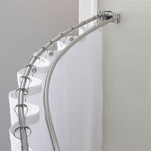 Double Curved Shower Rod Bright or Brushed Finish 6 Per