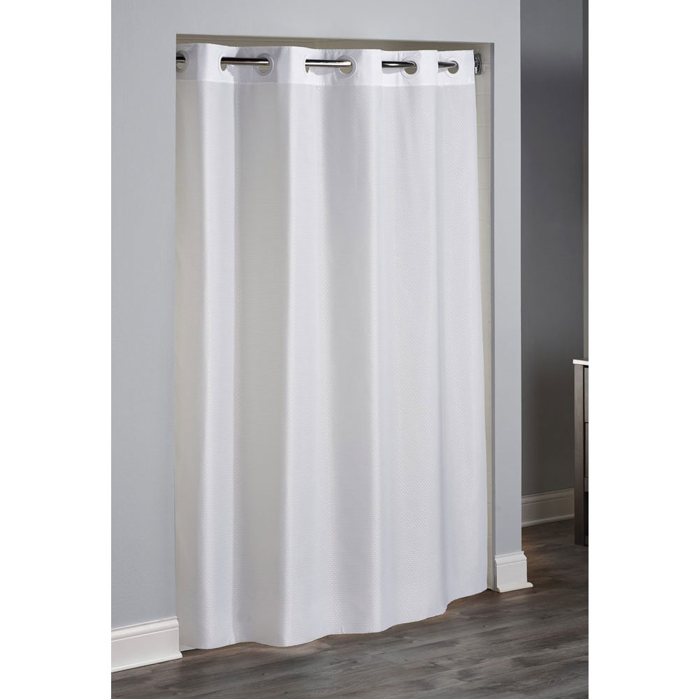 Hookless Englewood Polyester Shower Curtain 71x74 White 12 Per Case Price Per Each