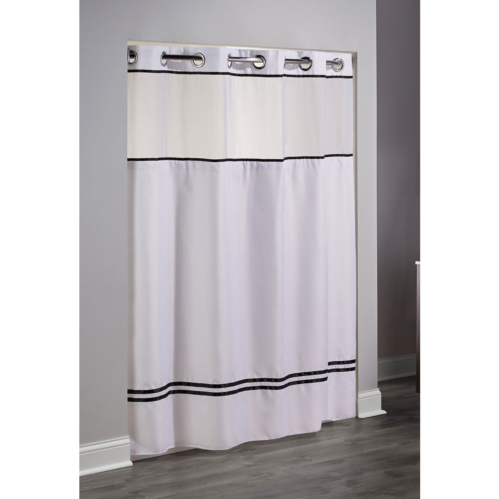 Hookless Escape Polyester Shower Curtain W It 39 S A Snap Replaceable Liner 71x74 White Black
