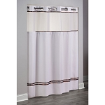 Hookless® Escape Polyester Shower Curtain w/ It's A Snap!™ Replaceable Liner 71x77 White/Brown Stripes 12 Per Case Price Per Each