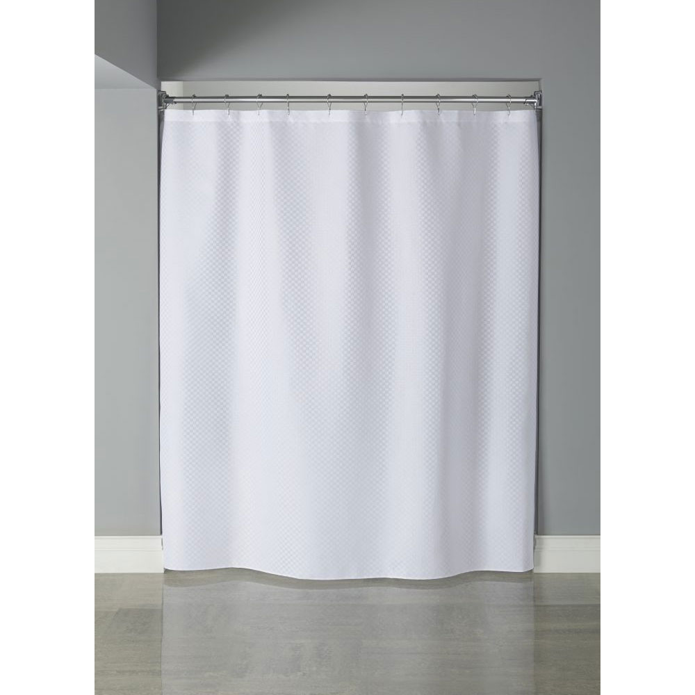 Home Arcs Angles HookedTM Fabric Shower Curtains Polyester Mini CheckBox Curtain W Buttonholes 72x72 White