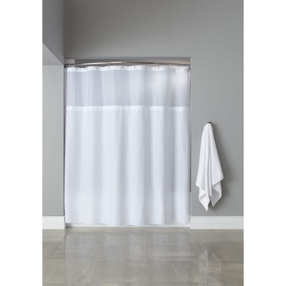 HookedTM Poly Premium Shower Curtain W Grommets Sheer Window 71x72 White 12 Per Case Price Each