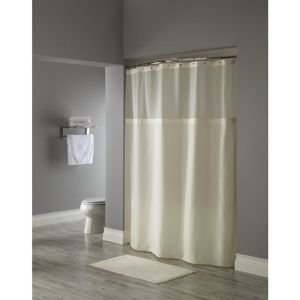 Hooked Poly Premium Shower Curtain W Grommets Sheer Window 71x72 Beige 12 Per Case Price Per