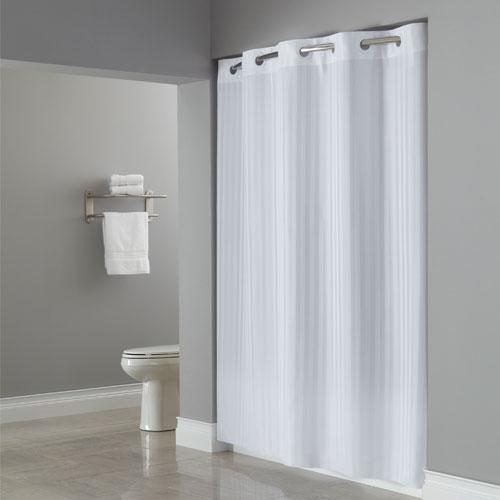 Home U003e Arcs U0026 Angles U003e Hookless® Fabric Shower Curtains U003e Victorian Stripe  U003e Hookless® Victorian Stripe Polyester Shower Curtain 71x77 White 12 Per  Case ...