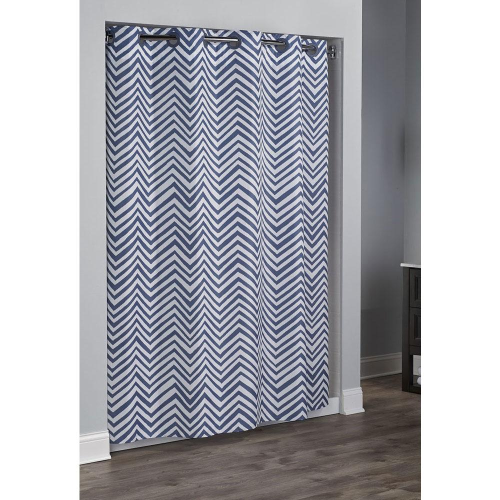 Home Shower Curtains Liners HooklessR Walker Polyester Curtain W Its A SnapR Replaceable Liner 71x77 Chevron Blue 12 Per Case Price Each