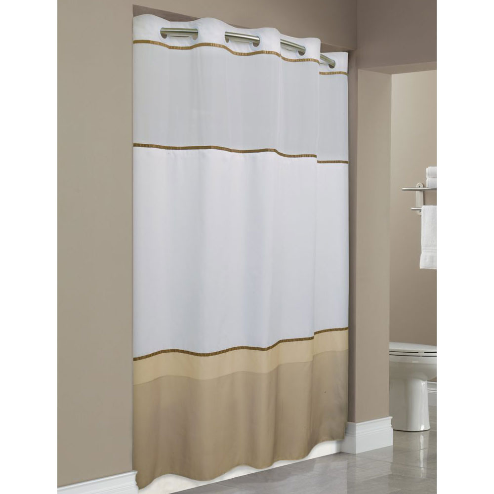 HooklessR Wellington Polyester Shower Curtain W Its A SnapR Replaceable Liner 71x77 Taupe ColorBlock 12 Per Case Price Each