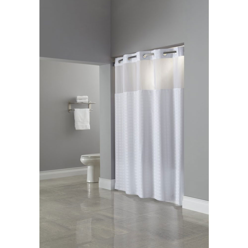 HooklessR Madison Polyester Shower Curtains W Its A SnapTM Liner 71x77 White 12 Per Case Price Each