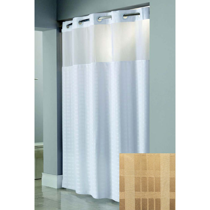 Hookless® Madison Polyester Shower Curtains w/ Sheer Window & PEVA ...