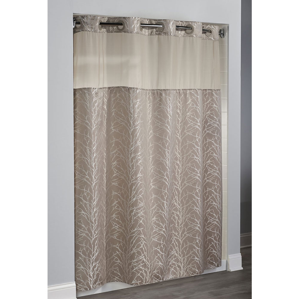 HooklessR Tree Branch Polyester Shower Curtain W Its A SnapR Replaceable Liner 71x77 Taupe 12 Per Case Price Each