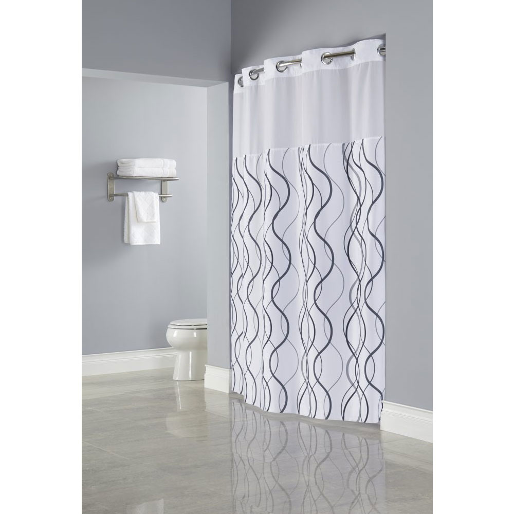 Hookless® Waves Polyester Shower Curtain W/ Itu0027s A Snap!® Replaceable Liner  71x77 White/Grey/Black 12 Per Case Price Per Each