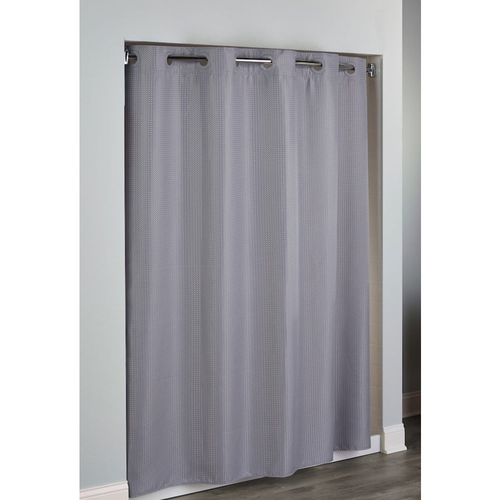 Hudson HooklessR Diamond Waffle Weave Polyester Shower Curtain W Its A SnapTM Replaceable Liner 71x77 Frost Grey 12 Per Case Price Each