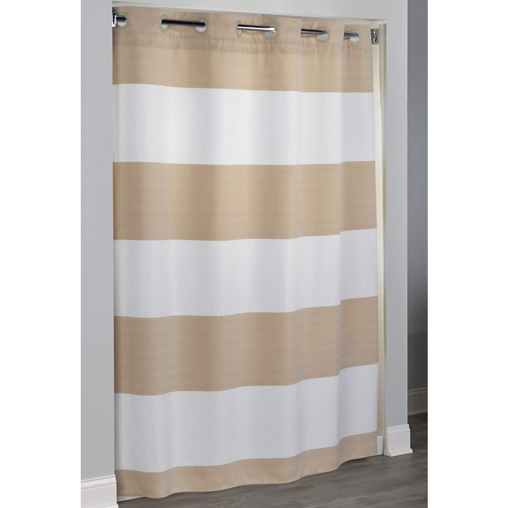HooklessR Fabric Shower Curtains Sonomoa White Waffle Striped W Taupe Double Woven Band Polyester Curtain Its A Snap