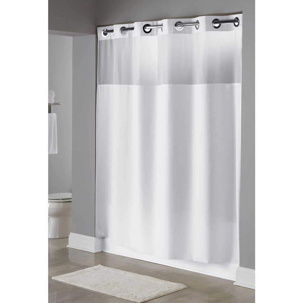 U Shaped Curtain Rod Hookless Waffle Shower Curtain