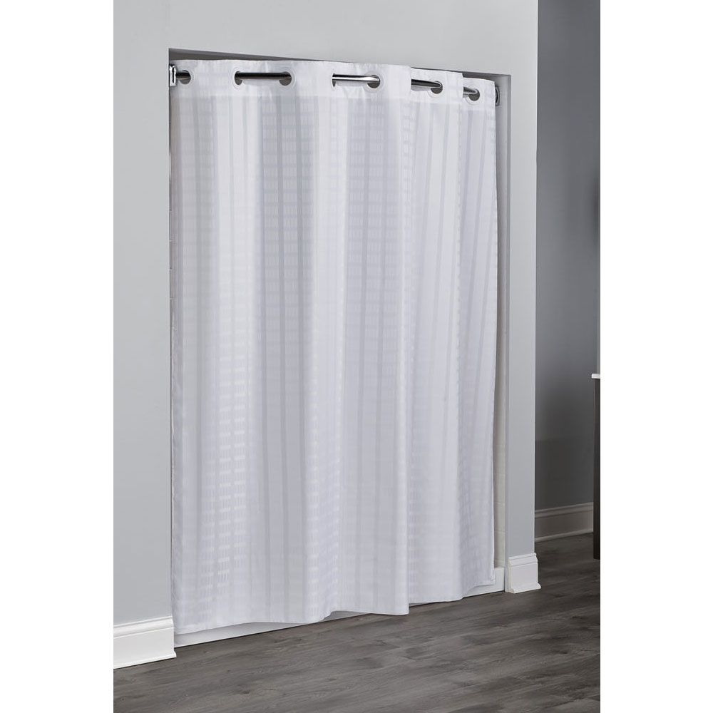Hookless Litchfield Polyester Shower Curtain 71x77 White 12 Per Case Price Per Each