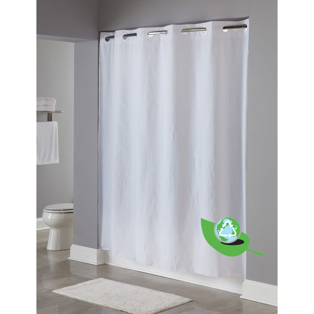 Home Arcs Angles HooklessR Vinyl Shower Curtains 5 Gauge Peva One PlanetTM PEVA 71x74 White 12 Per