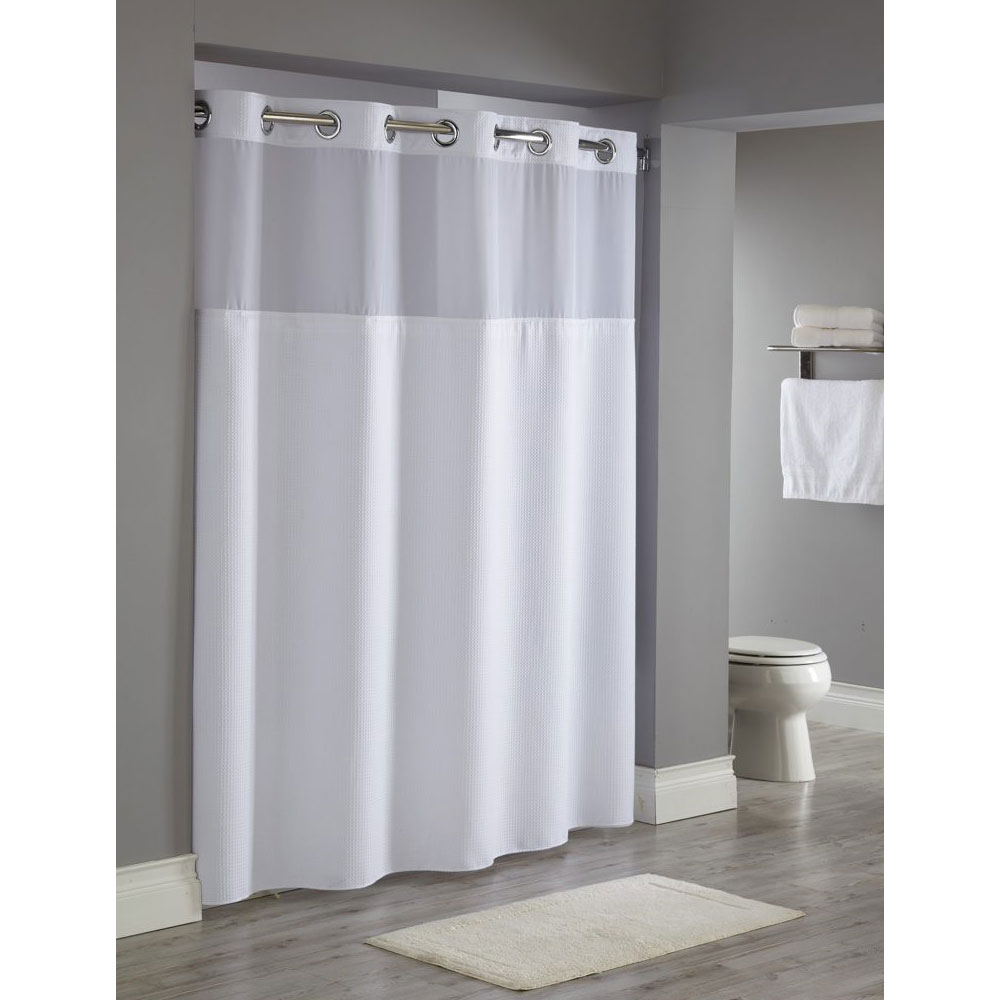 Hookless® Reflection Polyester Shower Curtain w/ It\'s A Snap ...