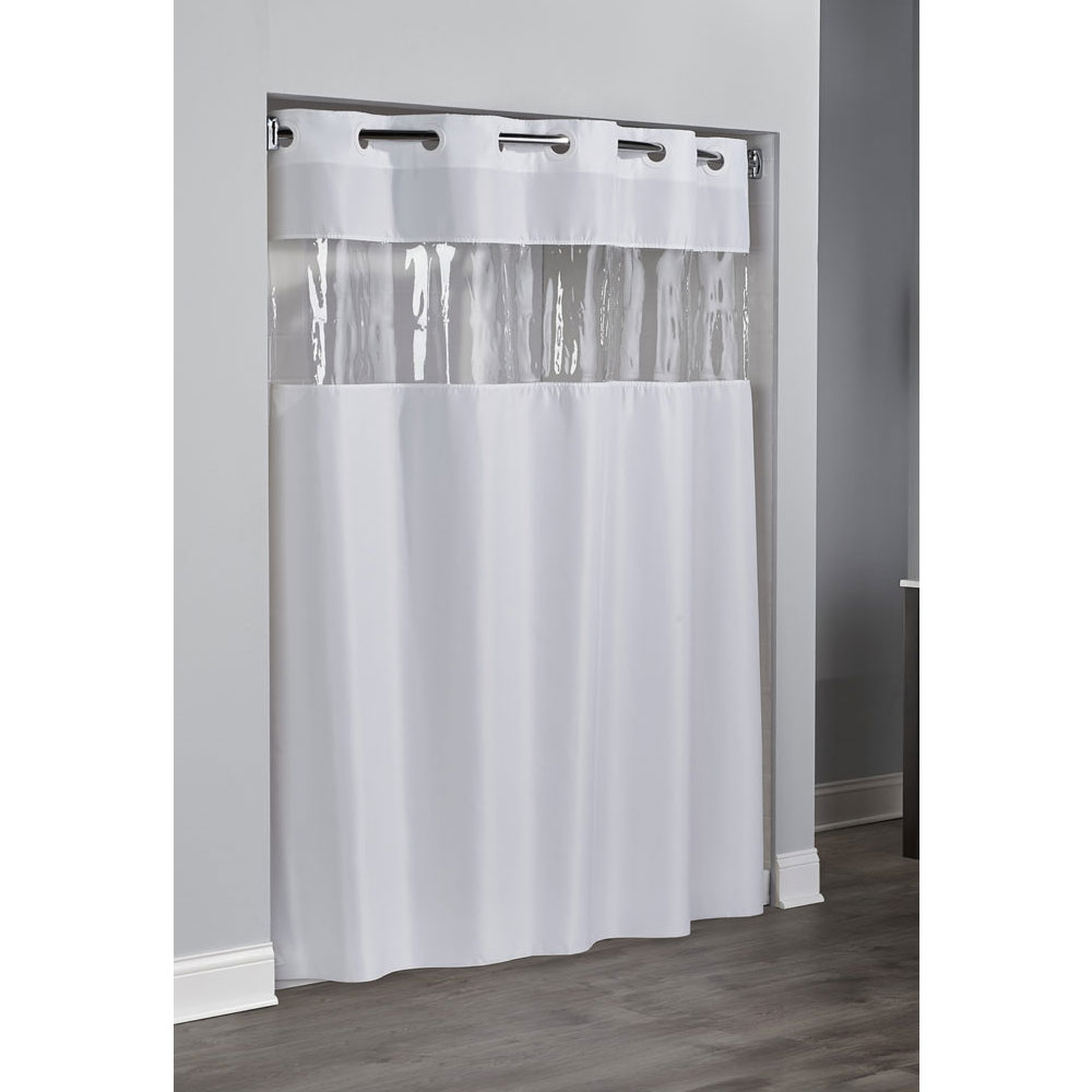 Hookless 174 view from the top polyester shower curtain 71x74 white 12