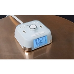 Brandstand CubieTime Alarm Clock w/ 2 USB Ports & 2 Power Outlets White 12 Per Case Price Per Each