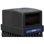 Commercial Zone® 25-Gallon Parkview Single Lid w/ Rectangular Opening Includes Decals Black