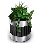 Commercial Zone® Riverview Steel-Slotted Planter w/ Liner Stainless Steel/Black