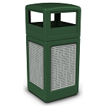 Commercial Zone® Precision Series 42-Gallon Stainless Steel Horizontal Lines Paneled Waste Container w/ Dome Lid Green