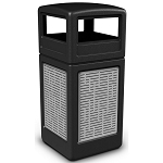 Commercial Zone® Precision Series 42-Gallon Stainless Steel Horizontal Lines Paneled Waste Container w/ Dome Lid Black