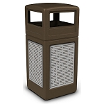 Commercial Zone® Precision Series 42-Gallon Stainless Steel Horizontal Lines Paneled Waste Container w/ Dome Lid Brown