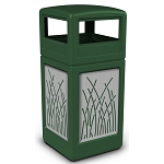 Commercial Zone® Precision Series 42-Gallon Stainless Steel Reed Paneled Waste Container w/ Dome Lid Green