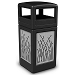 Commercial Zone® Precision Series 42-Gallon Stainless Steel Reed Paneled Waste Container w/ Dome Lid Black