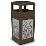 Commercial Zone® Precision Series 42-Gallon Stainless Steel Reed Paneled Waste Container w/ Dome Lid Brown