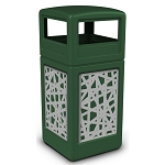 Commercial Zone® Precision Series 42-Gallon Stainless Steel Intermingle Paneled Waste Container w/ Dome Lid Green
