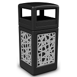 Commercial Zone® Precision Series 42-Gallon Stainless Steel Intermingle Paneled Waste Container w/ Dome Lid Black