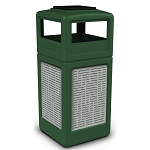 Commercial Zone® Precision Series 42-Gallon Stainless Steel Horizontal Lines Paneled Waste Container w/ Ashtray Dome Lid Green