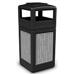 Commercial Zone® Precision Series 42-Gallon Stainless Steel Horizontal Lines Paneled Waste Container w/ Ashtray Dome Lid Black