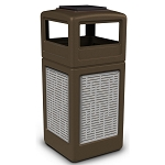 Commercial Zone® Precision Series 42-Gallon Stainless Steel Horizontal Lines Paneled Waste Container w/ Ashtray Dome Lid Brown