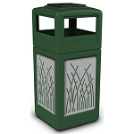 Commercial Zone® Precision Series 42-Gallon Stainless Steel Reed Paneled Waste Container w/ Ashtray Dome Lid Green