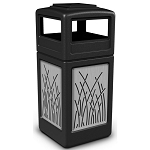 Commercial Zone® Precision Series 42-Gallon Stainless Steel Reed Paneled Waste Container w/ Ashtray Dome Lid Black