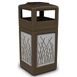 Commercial Zone® Precision Series 42-Gallon Stainless Steel Reed Paneled Waste Container w/ Ashtray Dome Lid Brown