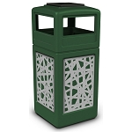Commercial Zone® Precision Series 42-Gallon Stainless Steel Intermingle Paneled Waste Container w/ Ashtray Dome Lid Green