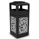 Commercial Zone® Precision Series 42-Gallon Stainless Steel Intermingle Paneled Waste Container w/ Ashtray Dome Lid Black