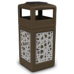 Commercial Zone® Precision Series 42-Gallon Stainless Steel Intermingle Paneled Waste Container w/ Ashtray Dome Lid Brown